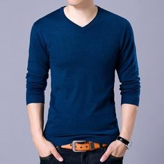 Autumn Winter Fashion men solid Sweater V-neck mens knitted sweaters Tops Cashmere Wool male Sweaters and pullovers