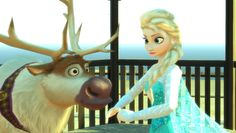 Elsa, Anna, and Sven from Frozen Having Fun in the City with BLUE Car an...