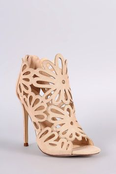 Caged Floral Lasercut Stiletto Heel, Shoes, Open Toe Heels - Avenue Of Angels