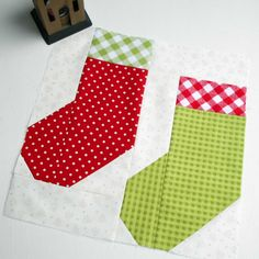 Block 17 - Jolly Christmas Stockings. Designed by Sew Fresh Quilts for the Jolly Christmas sew-along.