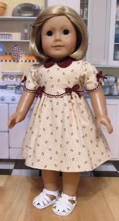 """1930's Frock - Made to Fit 18"""" American Girl Doll Kit or Ruthie, An Original Design By KeeperDollyDuds"""