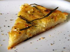 Farinata Genovese: chickpea flatbread with caramelized onions and rosemary