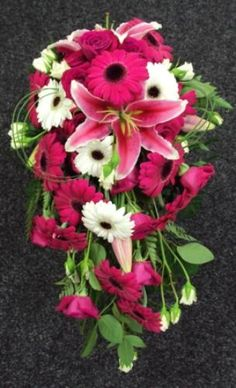 hot pink wedding bouquets | Hot Pink & White Teardrop Bouquet | Fusion Flowers