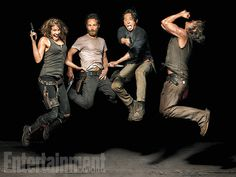 Maggie Greene (Lauren Cohan), Rick Grimes (Andrew Lincoln), Glenn Rhee (Steven Yeun), and Daryl Dixon (Norman Reedus) of #TheWalkingDead