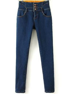 Blue High Waist Pockets Thick Denim Pants
