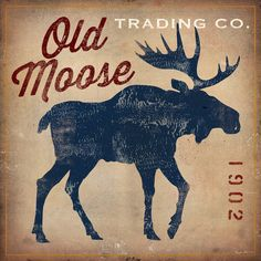 "Loon Peak Old Moose Trading Co.Tan' Vintage Advertisement on Wrapped Canvas Size: 37"" H x 37"" W x 0.75"" D"