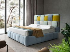 Fabric double bed with upholstered headboard TIFFANY By Felis Simple Bedroom Design, Bedroom Bed Design, Home Decor Bedroom, Modern Bedroom Furniture, Bed Furniture, Furniture Design, High Headboard Beds, Upholstered Beds, Decoration