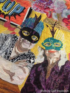 """detail, """"Two Sisters - Out To Lunch"""" by Margot McDonnell.  Judges Special Choice Award, and 2nd Place Art Quilts- Innovative. 2016 AZQG.  Photo by Quilt Inspiration."""