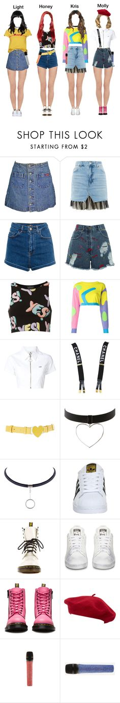 """""""""""Dumb Dumb - Red Velvet """" Cover Busking in Busan"""" by bubblecrew ❤ liked on Polyvore featuring Topshop, Pull&Bear, House of Holland, Jeremy Scott, UNIF, Chanel, ASOS, adidas, Dr. Martens and Goorin"""