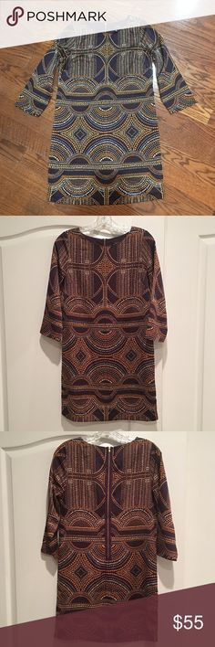 """The Limited Retro Mod 3/4 sleeve Dress Beautiful Mod Printed Dress from the Limited. Color is more brown as can be seen in the 2-4 pics. Has 3/4 sleeves and a gold Zipper down the back. Size XS but runs a little big to me. It's about 18"""" pit to pit and 34"""" shoulder to hem. The Limited Dresses"""