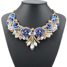 WomenCrystal Chunky Statement Bib Tassels Leaf Pendant Chain Choker Necklace FT