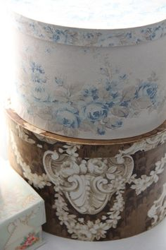 ~ pretty vintage wallpaper-covered boxes