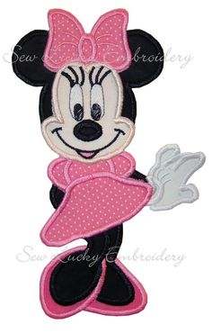 Miss Minnie Mouse Pink  Polka Dot Dress Applique Embroidery Patch - Ready to Ship