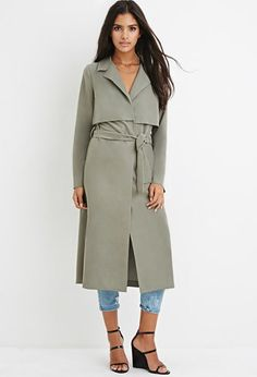 Draped Trench Coat. A draped trench coat featuring a longline silhouette, storm flaps, a notched collar, a self-tie belt, and long sleeves.  Fully lined, woven 66% modal, 34% polyester; Lining: 100% polyester Hand wash cold $44.90