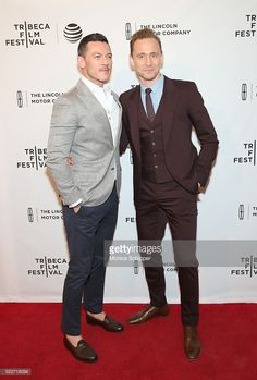 Actors Luke Evans and Tom Hiddleston attend 'High-Rise' Premiere - 2016 Tribeca Film Festival at SVA Theatre 2 on April 20, 2016 in New York City.