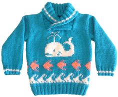 Sweater with Whale, Fish and Waves Knitting Pattern, Sweater Knitting Pattern for Boy or Girl, Whale Fish Waves Knitted Sweater, Seaside