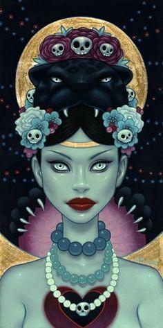 New painting from Tara McPherson - 'Panther Wayob' Memento Mori, Illustrations, Illustration Art, Glenn Arthur, Frida Art, Pin Up, Objet D'art, Portraits, Cultura Pop