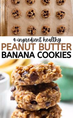 Oat Peanut Butter Cookies, Banana Oat Cookies, Banana Chocolate Chip Cookies, Peanut Butter Recipes, Cookies With Bananas, Banana Oatmeal Bars, Peanut Butter Banana Oats, Banana Cookie Recipe, Banana Treats