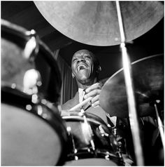 Art Blakey - Jamming on the Drums during a Performance at the Cork & Bib Club, Long Island, New York, October 23, 1958