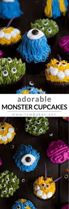 Create one of these perfect Halloween cupcake ideas for kids with this Adorable Monster Cupcakes! Simple yet easy and fun! @iambaker #iambakerdessert #iambaker