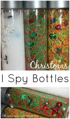 I Spy Bottles Christmas Winter Activity Travel Sensory Play..other great links on this page to filler options for sensory bins