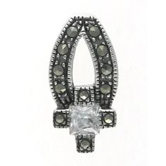 Aura 925 Sterling Silver Pendant with Marcasite Gemstone (SP00002)