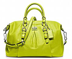 I need this pop of chartreuse Coach Madison Leather Juliette