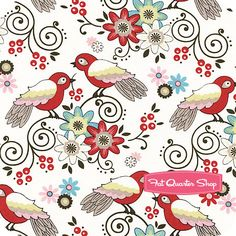 Tweet for Two Cream Birds and Flowers Yardage SKU# 0528-140 - Fat Quarter Shop