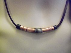 mens necklace copper and leather by OriginalArtt on Etsy