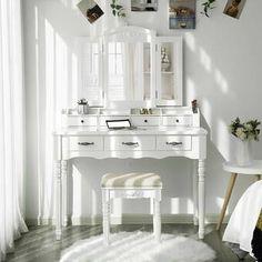 House of Hampton Soares Vanity Set with Mirror Color: White Vanity Table Set, Vanity Set With Mirror, Vanity Room, Teen Vanity, White Vanity, Daybed With Trundle, Upholstered Platform Bed, Sleep