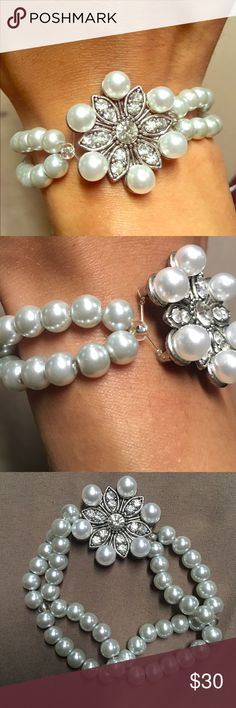 Rhinestone flower pendent bracelet Rhinestone flower with glass pearl beads, double stranded, never worn Jewelry Bracelets