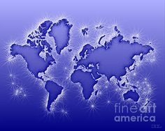 World Map Opala In Blue And White by elevencorners. World map wall print decor. #elevencorners #mapopala
