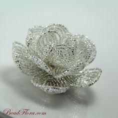 beaded brides flower hair clip fascinator, Silver French Goddess, french beaded flowers - for the bride or bridesmaid. $65.00, via Etsy.