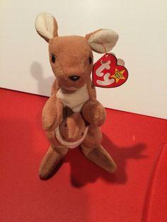 9644edf1e53 RARE RETIRED 1996 TY Original Beanie Baby Pouch The Kangaroo w  Baby  MWMT-ERRORS