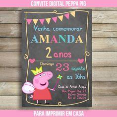 Convite Digital Peppa Pig Quadro Negro Invitacion Peppa Pig, Peppa Pig Invitations, Aniversario Peppa Pig, Pig Party, 2nd Birthday Parties, Alice, Birthdays, Kids, Chalkboards