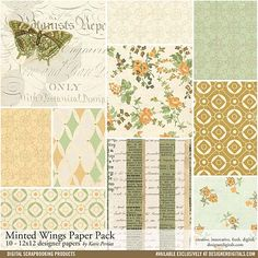 Minted Wings Paper Pack - Digital Scrapbooking Papers DesignerDigitals