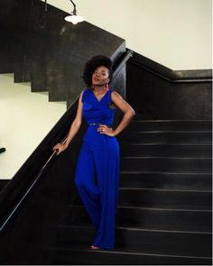 da0529b122b Cynthia Andrew of  simplycyn wearing the  BlackHalo Jackie Jumpsuit in  cobalt Black Women Fashion