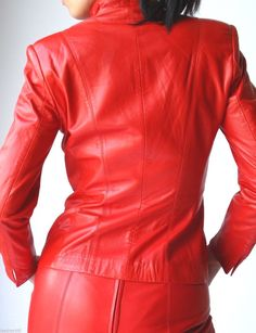Fiery Red Leather Dress Suit Begedor Jacket and Vakko Skirt   eBay