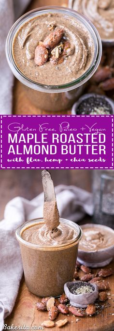 This Maple Almond Butter is made with maple roasted almonds and a hint of vanilla, and made even more nutritious with sunflower seeds, chia seeds, flax seeds, and hemp seeds! You're going to want to spread this almond butter on everything.