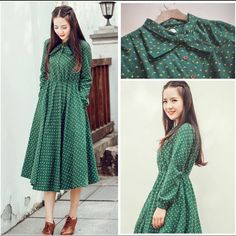 Cute green floral dresses vintage ladies dresses Bohemian style 2016 autumn winter new fashion long sleeve dress free shipping-in Dresses from Women's Clothing & Accessories on Aliexpress.com | Alibaba Group