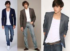 1Moda Blazer Calca Jeans Estilo masculino
