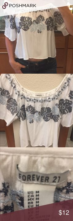 "Off shoulder embroidered crop top NWOT Forever21 crop top, super cute and on trend for summer! 14"" long, 19"" across, 9.5"" long sleeves. Elastic top. Semi sheer. I am normally a size small, 32 C bra, for reference. Forever 21 Tops Crop Tops"