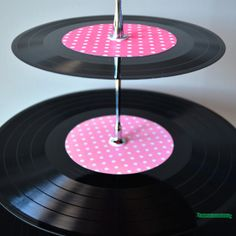 3 Tier Vinyl Record Cup Cake Stand - Very Cute for a 50s themed event