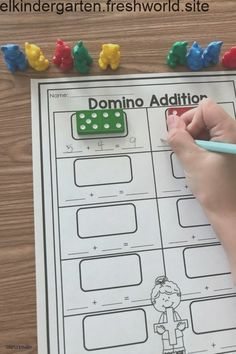 Domino addition addition games for kindergarten, kindergarten math stations Subtraction Activities, Addition Activities, Preschool Activities, Numeracy, Educational Activities, Preschool Quotes, Ks1 Maths, Free Preschool, Educational Websites