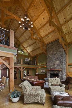 great room photo in a douglas fir Woodhouse timber frame home timber frame homes Custom Douglas Fir Frame 3 Log Cabin Homes, Log Cabins, Timber Frame Homes, Timber Frames, Barn Renovation, Cabins And Cottages, Exterior, The Ranch, House In The Woods
