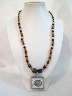 Black and Orange Beaded Halloween Necklace by DeadPoetAccessories