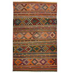 Stripped and Embroidered Anatolian Kilim Circa 1910s E3116