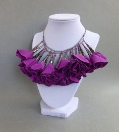 Radiant Orchid Fabric Flower Statement Necklace // Gunmetal Chain // Romantic