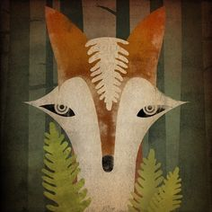 """Fox in the Ferns"" graphic art"