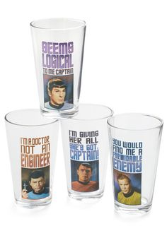 Star Trek glasses!! Wish I could just get the Spock and Scotty ones because I don't really have any room for MORE glasses haha